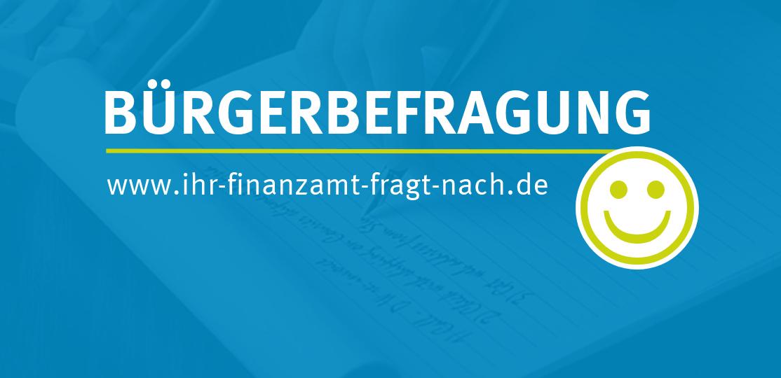 blauer Hintergrund mit der Aufschrift Online-Bürgerbefragung